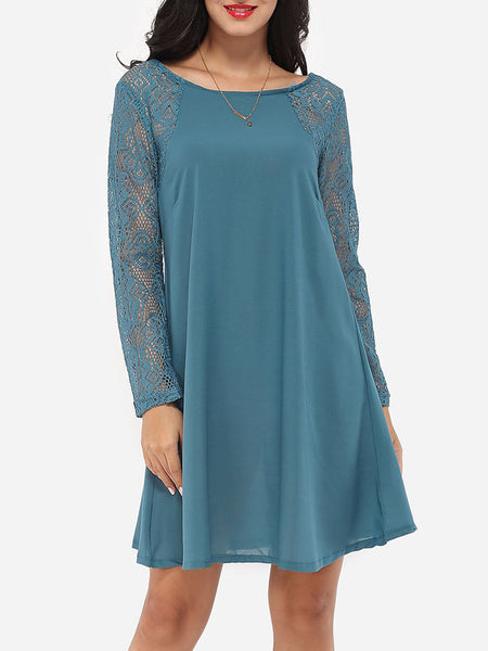 Loose Fitting Crew Neck Dacron Lace Hollow Out Lace Patchwork Shift-dress - Bychicstyle.com
