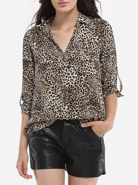 Casual Pockets V Neck Dacron Leopard Printed Blouse