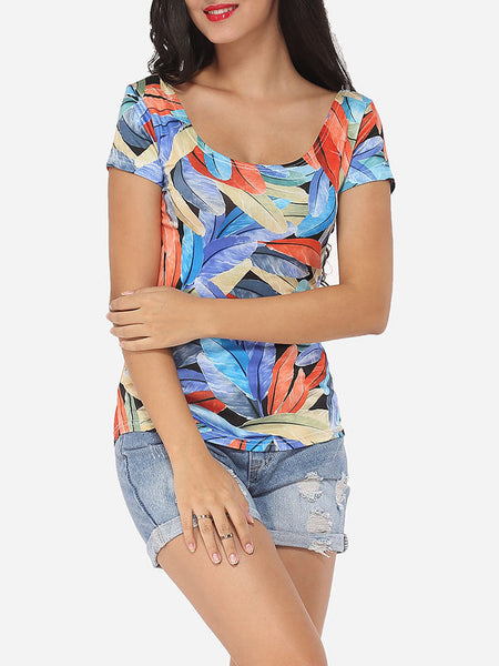 Scoop Neck Cotton Printed Short-sleeve-t-shirt - Bychicstyle.com