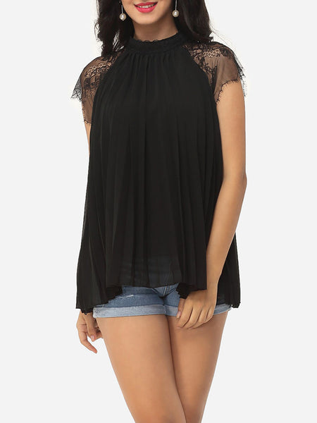 Hollow Out Lace Patchwork Plain Captivating Band Collar Blouse - Bychicstyle.com
