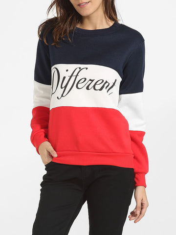 Round Neck Cotton Color Block Letter Printed Sweatshirt - Bychicstyle.com