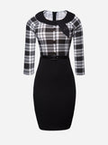 ByChicStyle Round Neck Plaid Patchwork With Belt Bodycon-dress - Bychicstyle.com