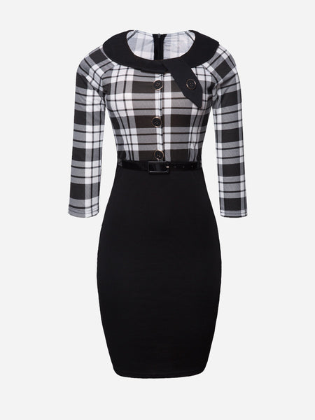 Round Neck Plaid Patchwork With Belt Bodycon-dress - Bychicstyle.com