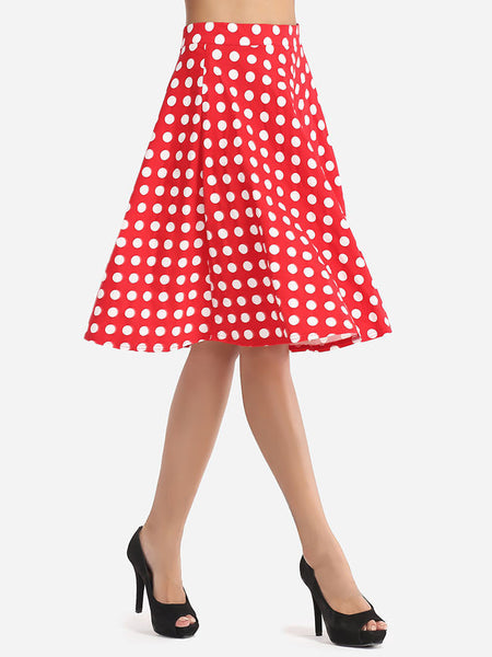 Casual Polka Dot Lovely Midi-skirt