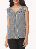 ByChicStyle Striped Glamorous Small Lapel Blouse - Bychicstyle.com