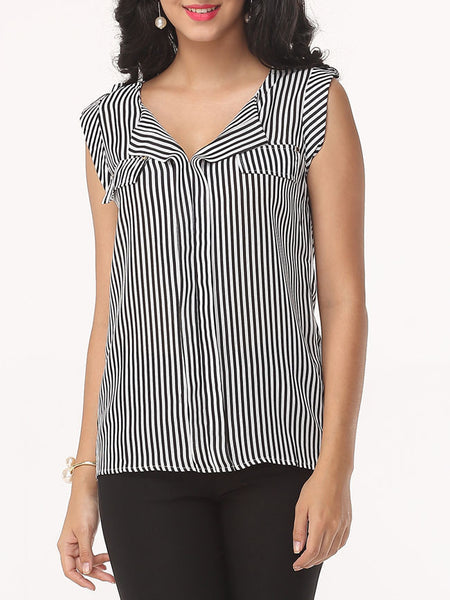 Striped Glamorous Small Lapel Blouse - Bychicstyle.com