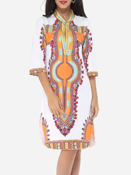 Printed Tribal Extraordinary Band Collar Shift-dress - Bychicstyle.com