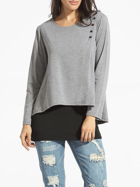 Round Neck Single Breasted Patchwork Long-sleeve-t-shirt - Bychicstyle.com