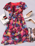 ByChicStyle Bowknot Round Neck Gauze Printed Skater Dress - Bychicstyle.com