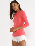 ByChicStyle Henley Collar Single Breasted Plain Long Sleeve T-shirt - Bychicstyle.com
