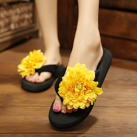 Casual Colorful Floral Bohemia Ribbon Clip Toe Flip Folp Beach Flat Slippers