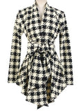 ByChicStyle Casual Appealing  Houndstooth  Printed Trench-coats