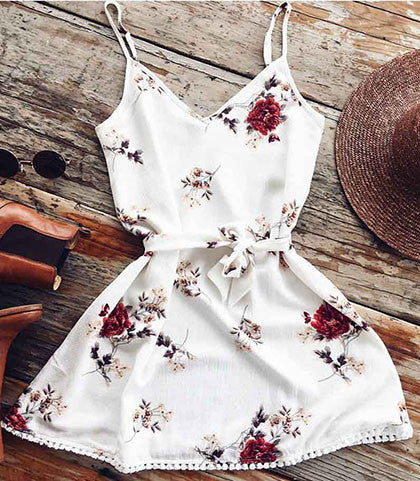 Casual Fashion V neck Floral Print Halter Dress