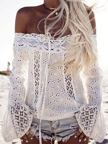 Casual Cute White Solid Lace Off The Shoulder Top