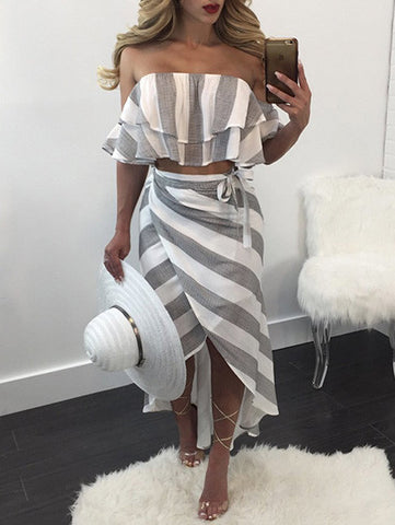 Casual Sexy Off The Shoulder Striped Top & Skirt Set