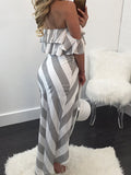 ByChicStyle Casual Sexy Off The Shoulder Striped Top & Skirt Set