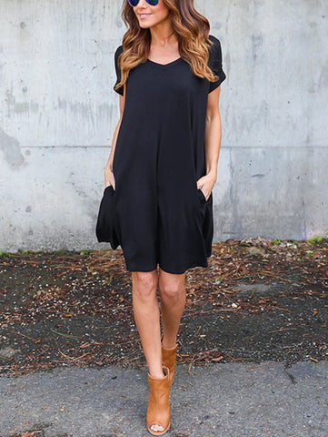 Casual Solid Color Round Neckline Dress