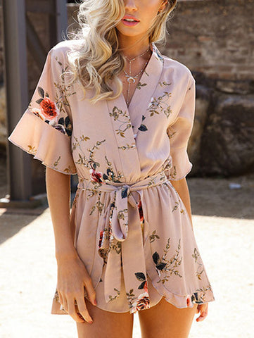 Casual Cute Floral Print V neck Strappy Romper