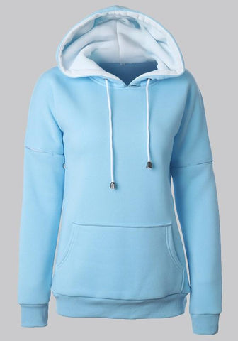 Sky Blue Drawstring Pockets Round Neck Long Sleeve Hooded Sweatshirt