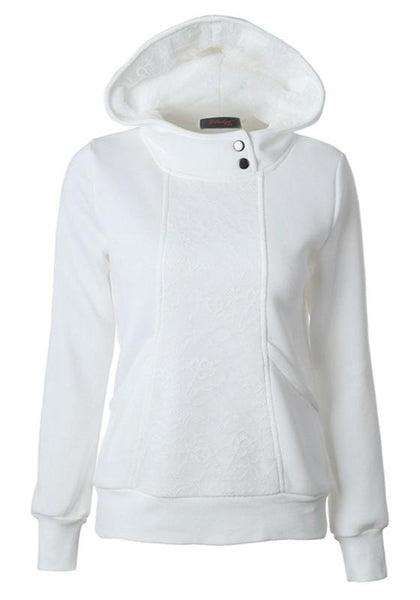 White Patchwork Lace Buttons Pockets Hooded Long Sleeve Sweatshirt