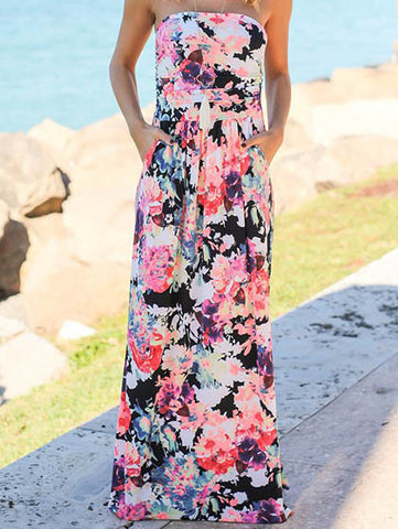 Casual Go Lucky Bohemian Style Chic Floral Print Black Dress