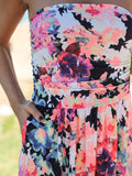 ByChicStyle Casual Go Lucky Bohemian Style Chic Floral Print Black Dress