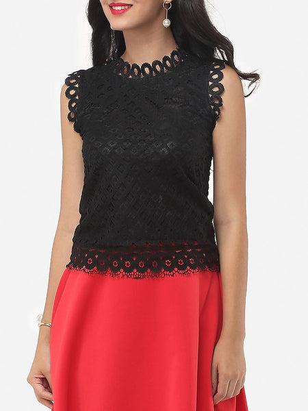 Hollow Out Lace Extraordinary Crew Neck Blouse - Bychicstyle.com