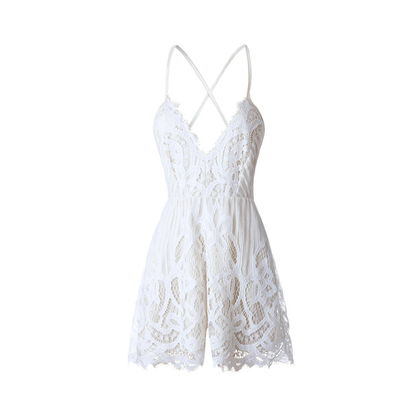 Casual Women Summer Sleeveless Lace Casual Evening Party Cocktail Short Romper Jumpsuit
