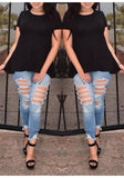 ByChicStyle Black Plain Irregular Hollow-out Tie Back Draped Lace-up T-Shirt