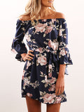 ByChicStyle Casual Boho Off The Shoulder Floral Print Dress