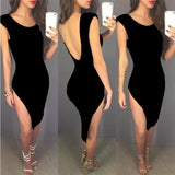 ByChicStyle Black Irregular Round Neck Cap Sleeve Side Slit Backless Bodycon Midi Dress