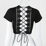 ByChicStyle Summer butterfly Tie Straps Lace Hollow Out Short Sleeves Solid Color T-shirt - Bychicstyle.com