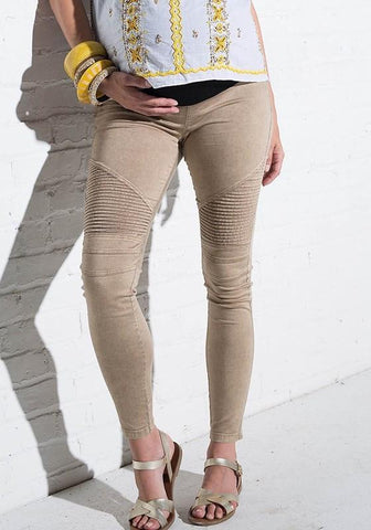 Khaki Striped Casual Maternity High Waisted Fashion Legging