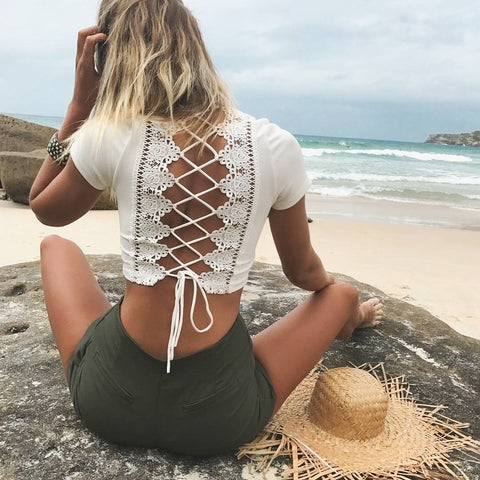 Summer butterfly Tie Straps Lace Hollow Out Short Sleeves Solid Color T-shirt - Bychicstyle.com
