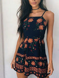 ByChicStyle Casual Halter Bohemian Style Floral Print Dress