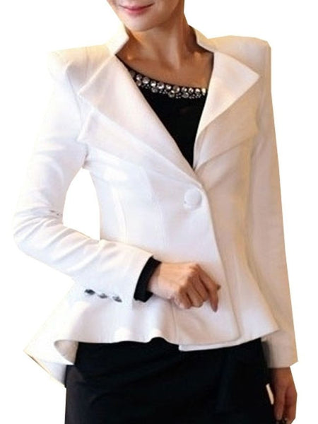 Nifty Lapel High-Low Falbala Plain Blazer - Bychicstyle.com