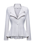ByChicStyle Nifty Lapel High-Low Falbala Plain Blazer - Bychicstyle.com