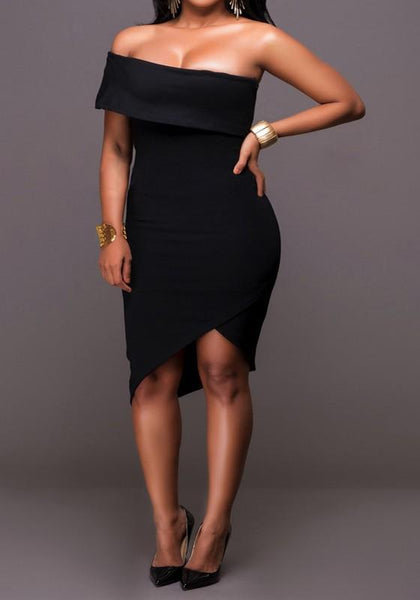 Black Irregular Bandeau Asymmetric Shoulder Off Shoulder Bodycon Club Midi Dress