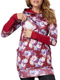 ByChicStyle New Red Floral Print Hooded Long Sleeve Casual Maternity Sweatshirt