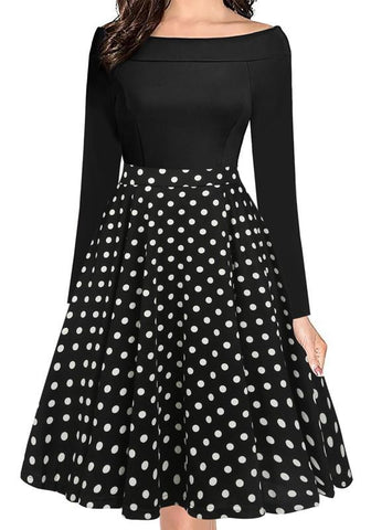 Black-White Polka Dot Draped Pockets Off Shoulder Tutu Party Midi Dress
