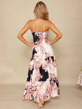 ByChicStyle Bohemia Floral Off-shoulder Backless Maxi Dress