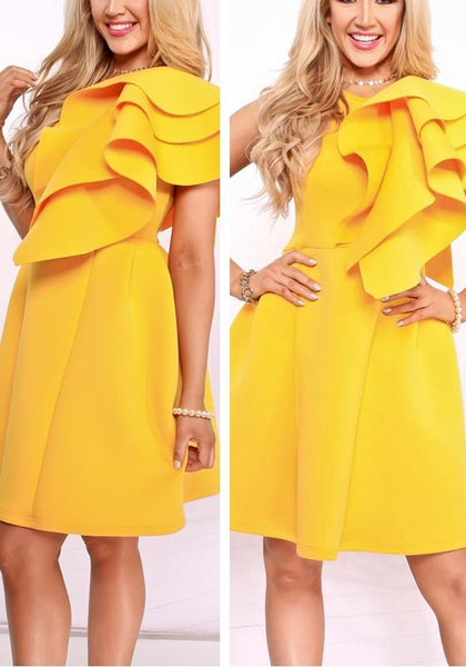 Yellow Cascading Ruffle Irregular Round Neck High Waisted Homecoming Midi Dress