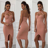 ByChicStyle Casual 2018 New Summer Neckhead Open Fork Bag Breech Dress, Sexy Nightclub Pencil Skirt
