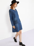 ByChicStyle Sweet Heart Patch Pocket Embroidery Shift-dress - Bychicstyle.com