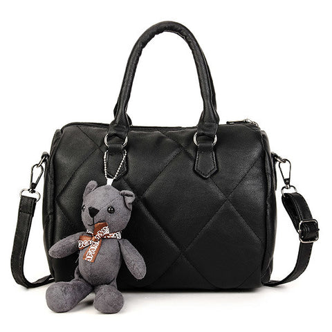Women Stylish Lovely Bear Boston Quilted Lining Handbag Shoulder Bag Crossbody Bag