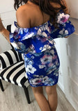ByChicStyle Blue Floral Print Boat Neck Short Sleeve Fashion Midi Dress