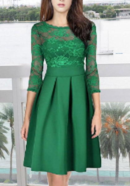 Green Lace Pleated Grenadine Tutu Combo Elegant Homecoming Party Midi Dress