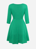 ByChicStyle Round Neck Plain Pleated Skater-dress - Bychicstyle.com