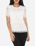 ByChicStyle Lace Plain Exquisite Round Neck Short-sleeve-t-shirt - Bychicstyle.com
