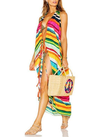Beautiful Color Stripe Cover-Ups Swimwear